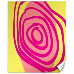 Doodle Shapes Large Line Circle Pink Red Yellow Canvas 11  X 14