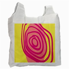 Doodle Shapes Large Line Circle Pink Red Yellow Recycle Bag (Two Side)