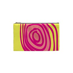 Doodle Shapes Large Line Circle Pink Red Yellow Cosmetic Bag (Small)