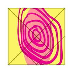 Doodle Shapes Large Line Circle Pink Red Yellow Acrylic Tangram Puzzle (6  x 6 )