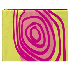 Doodle Shapes Large Line Circle Pink Red Yellow Cosmetic Bag (xxxl)