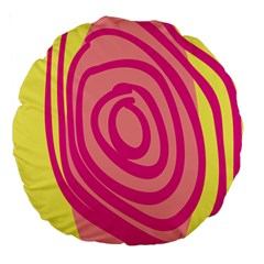 Doodle Shapes Large Line Circle Pink Red Yellow Large 18  Premium Round Cushions