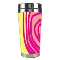 Doodle Shapes Large Line Circle Pink Red Yellow Stainless Steel Travel Tumblers