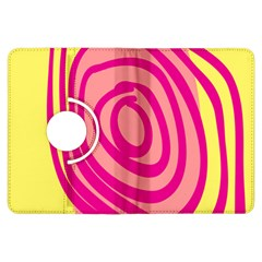 Doodle Shapes Large Line Circle Pink Red Yellow Kindle Fire HDX Flip 360 Case