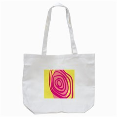 Doodle Shapes Large Line Circle Pink Red Yellow Tote Bag (White)