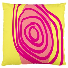 Doodle Shapes Large Line Circle Pink Red Yellow Standard Flano Cushion Case (two Sides)
