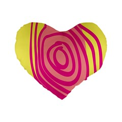 Doodle Shapes Large Line Circle Pink Red Yellow Standard 16  Premium Flano Heart Shape Cushions