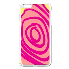 Doodle Shapes Large Line Circle Pink Red Yellow Apple iPhone 6 Plus/6S Plus Enamel White Case