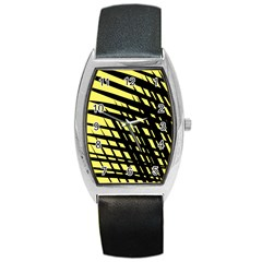 Doodle Shapes Large Scratched Included Barrel Style Metal Watch