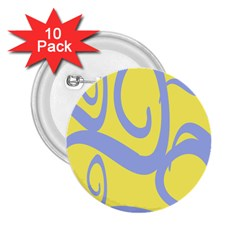 Doodle Shapes Large Waves Grey Yellow Chevron 2.25  Buttons (10 pack)