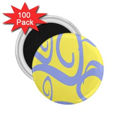 Doodle Shapes Large Waves Grey Yellow Chevron 2 25  Magnets (100 Pack)
