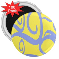 Doodle Shapes Large Waves Grey Yellow Chevron 3  Magnets (100 pack)