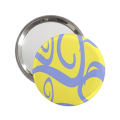 Doodle Shapes Large Waves Grey Yellow Chevron 2.25  Handbag Mirrors