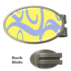 Doodle Shapes Large Waves Grey Yellow Chevron Money Clips (oval)