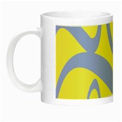 Doodle Shapes Large Waves Grey Yellow Chevron Night Luminous Mugs