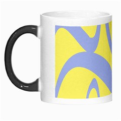 Doodle Shapes Large Waves Grey Yellow Chevron Morph Mugs