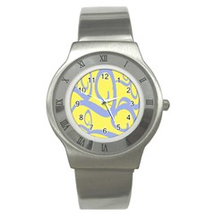 Doodle Shapes Large Waves Grey Yellow Chevron Stainless Steel Watch