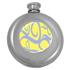 Doodle Shapes Large Waves Grey Yellow Chevron Round Hip Flask (5 oz)