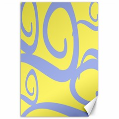 Doodle Shapes Large Waves Grey Yellow Chevron Canvas 20  x 30