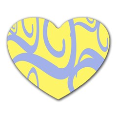 Doodle Shapes Large Waves Grey Yellow Chevron Heart Mousepads