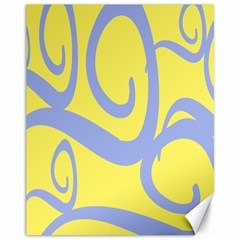 Doodle Shapes Large Waves Grey Yellow Chevron Canvas 11  x 14
