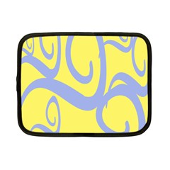 Doodle Shapes Large Waves Grey Yellow Chevron Netbook Case (Small)