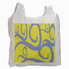 Doodle Shapes Large Waves Grey Yellow Chevron Recycle Bag (One Side)