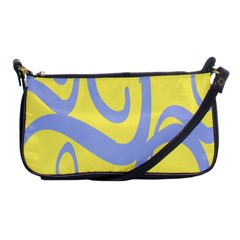 Doodle Shapes Large Waves Grey Yellow Chevron Shoulder Clutch Bags