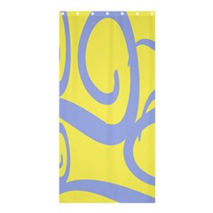 Doodle Shapes Large Waves Grey Yellow Chevron Shower Curtain 36  x 72  (Stall)