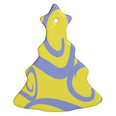 Doodle Shapes Large Waves Grey Yellow Chevron Christmas Tree Ornament (Two Sides)