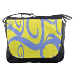 Doodle Shapes Large Waves Grey Yellow Chevron Messenger Bags
