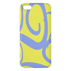 Doodle Shapes Large Waves Grey Yellow Chevron iPhone 5S/ SE Premium Hardshell Case