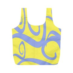 Doodle Shapes Large Waves Grey Yellow Chevron Full Print Recycle Bags (M)