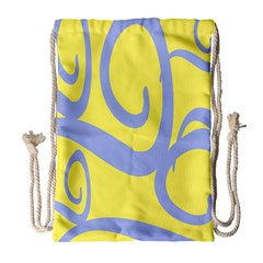 Doodle Shapes Large Waves Grey Yellow Chevron Drawstring Bag (Large)