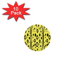 Easter Egg Shapes Large Wave Black Yellow Circle Dalmation 1  Mini Buttons (10 Pack)