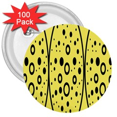 Easter Egg Shapes Large Wave Black Yellow Circle Dalmation 3  Buttons (100 Pack)