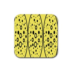 Easter Egg Shapes Large Wave Black Yellow Circle Dalmation Rubber Coaster (Square)