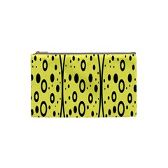 Easter Egg Shapes Large Wave Black Yellow Circle Dalmation Cosmetic Bag (Small)