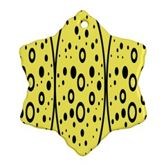 Easter Egg Shapes Large Wave Black Yellow Circle Dalmation Snowflake Ornament (two Sides)
