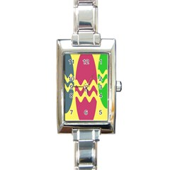 Easter Egg Shapes Large Wave Green Pink Blue Yellow Rectangle Italian Charm Watch