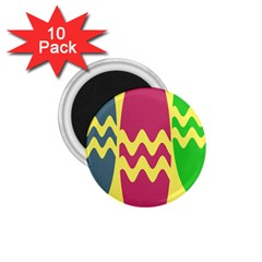 Easter Egg Shapes Large Wave Green Pink Blue Yellow 1 75  Magnets (10 Pack)
