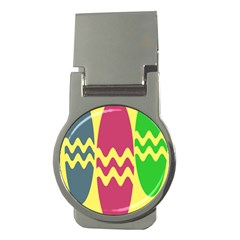 Easter Egg Shapes Large Wave Green Pink Blue Yellow Money Clips (round)