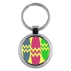 Easter Egg Shapes Large Wave Green Pink Blue Yellow Key Chains (round)