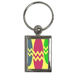 Easter Egg Shapes Large Wave Green Pink Blue Yellow Key Chains (Rectangle)