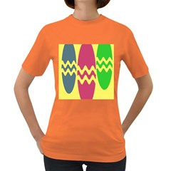 Easter Egg Shapes Large Wave Green Pink Blue Yellow Women s Dark T Shirt