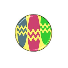 Easter Egg Shapes Large Wave Green Pink Blue Yellow Hat Clip Ball Marker