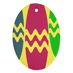 Easter Egg Shapes Large Wave Green Pink Blue Yellow Oval Ornament (Two Sides)