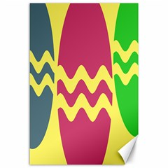 Easter Egg Shapes Large Wave Green Pink Blue Yellow Canvas 24  x 36
