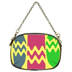 Easter Egg Shapes Large Wave Green Pink Blue Yellow Chain Purses (Two Sides)
