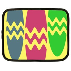 Easter Egg Shapes Large Wave Green Pink Blue Yellow Netbook Case (XXL)